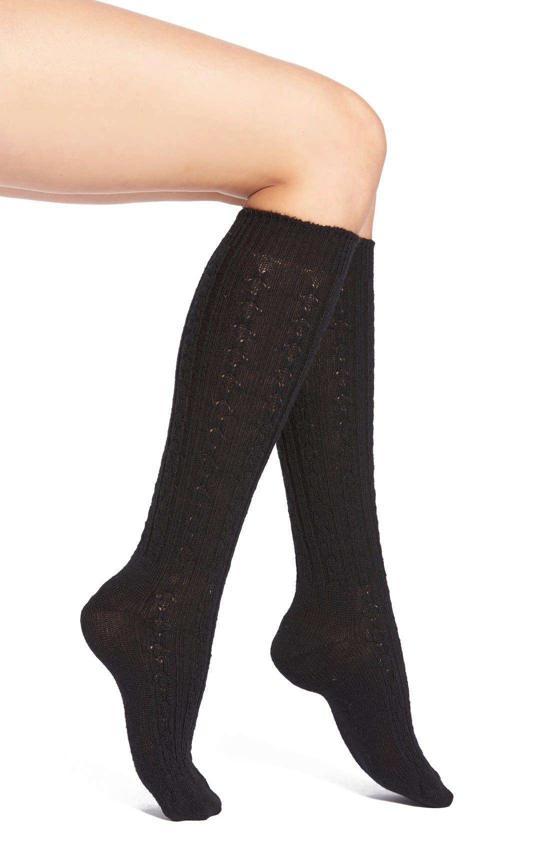 Cable Knit Knee Socks,                         Main,                         color, Black