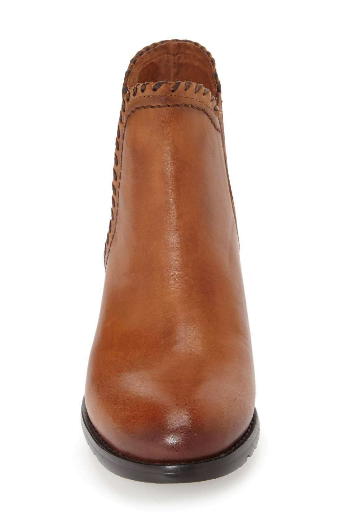 'Andorra' Water Resistant Bootie,                             Alternate thumbnail 3, color,                             Brandy Leather