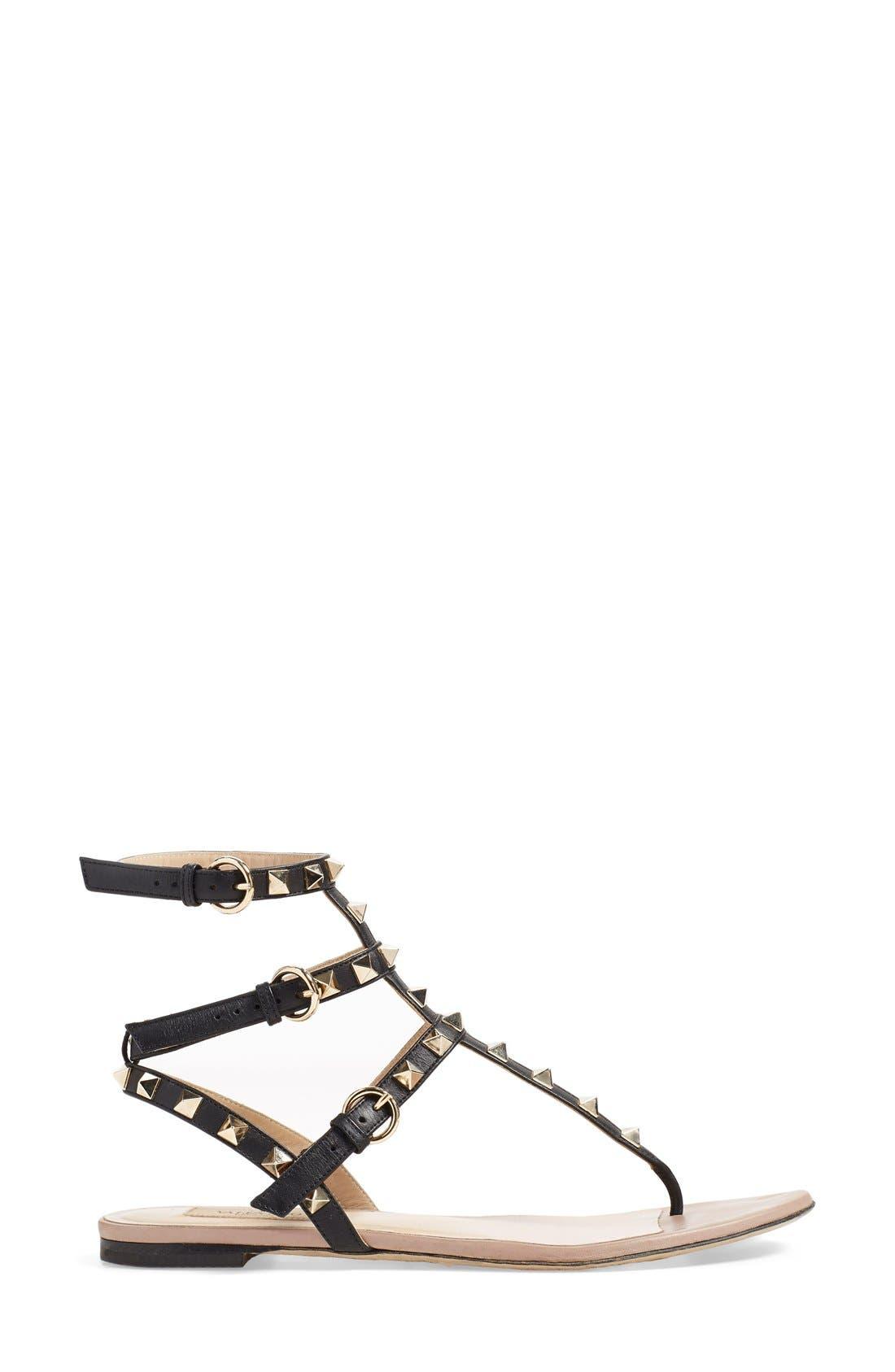 'Rockstud' Sandal,                             Alternate thumbnail 4, color,                             Black Leather