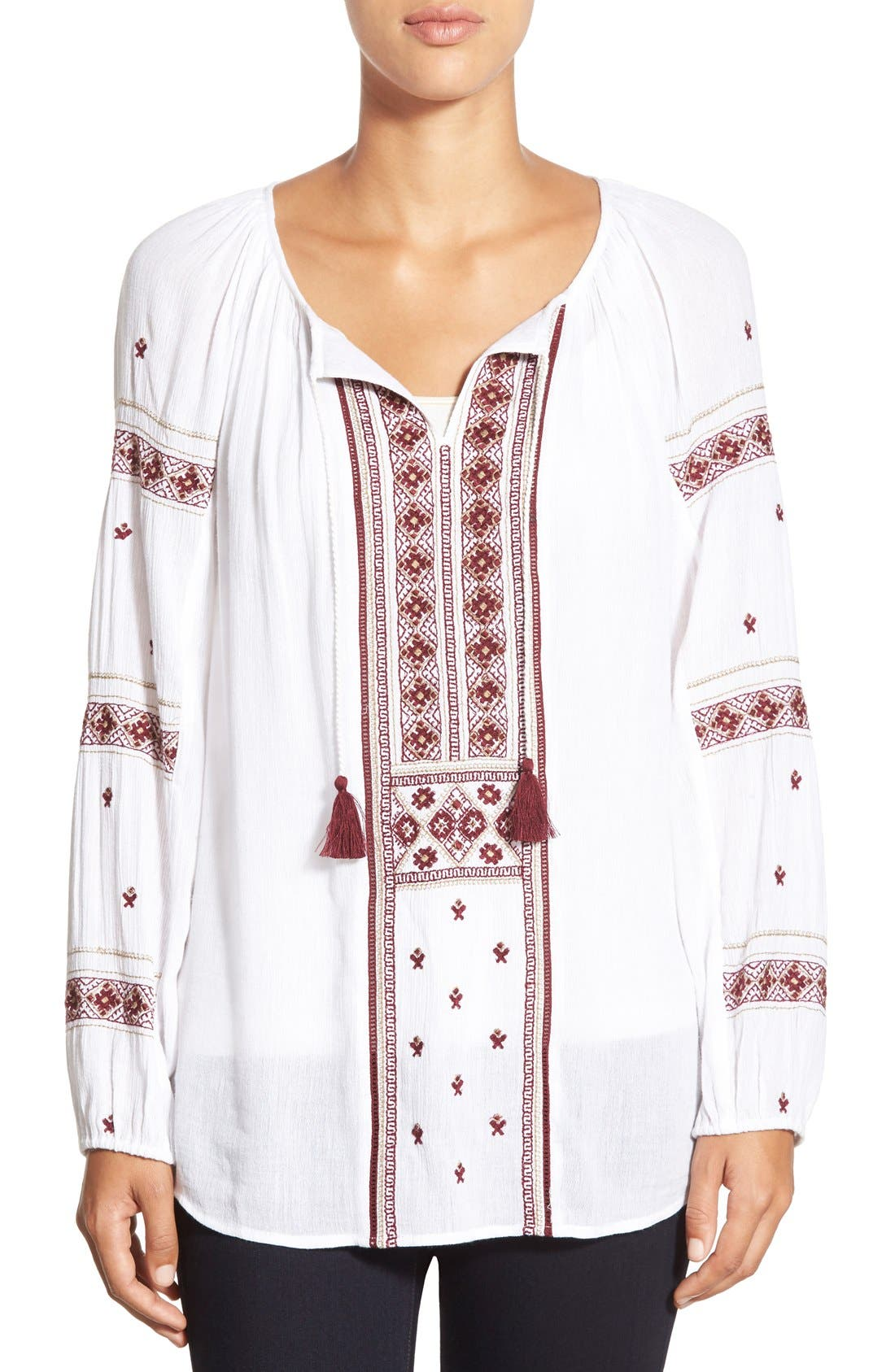 Main Image - Caslon® Embroidered Peasant Tunic Top