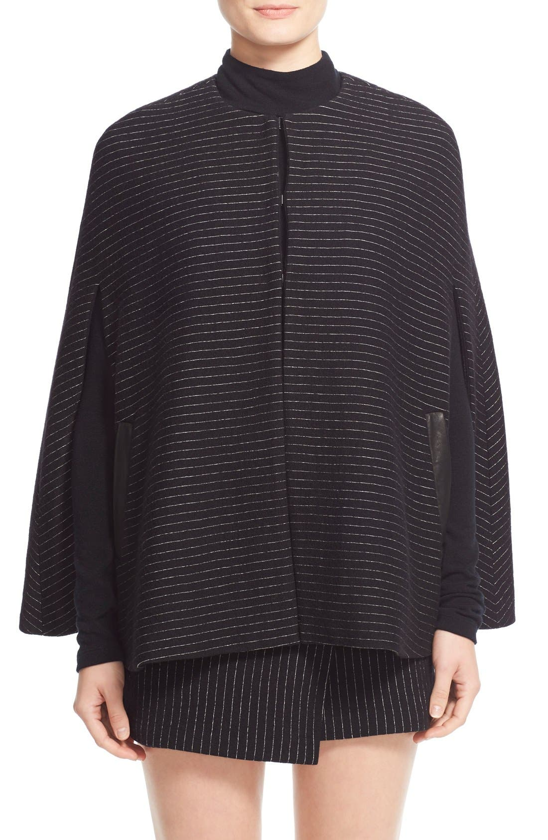 Main Image - Alice + Olivia 'Kingsley' Pinstripe Wool Cape Coat