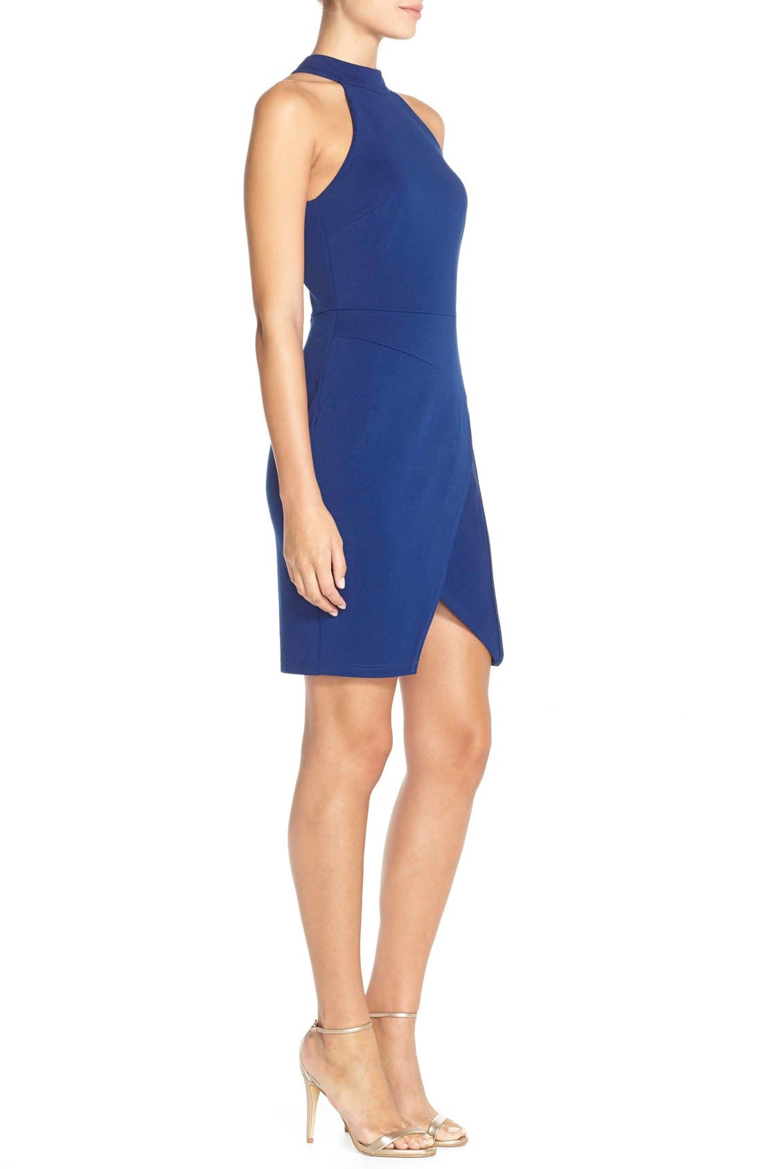 Alternate Image 3  - Adelyn Rae Split Front Ponte Body-Con Dress
