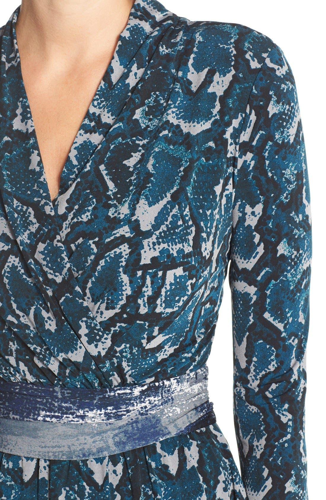 Print Jersey Faux Wrap Dress,                             Alternate thumbnail 4, color,                             Mallard