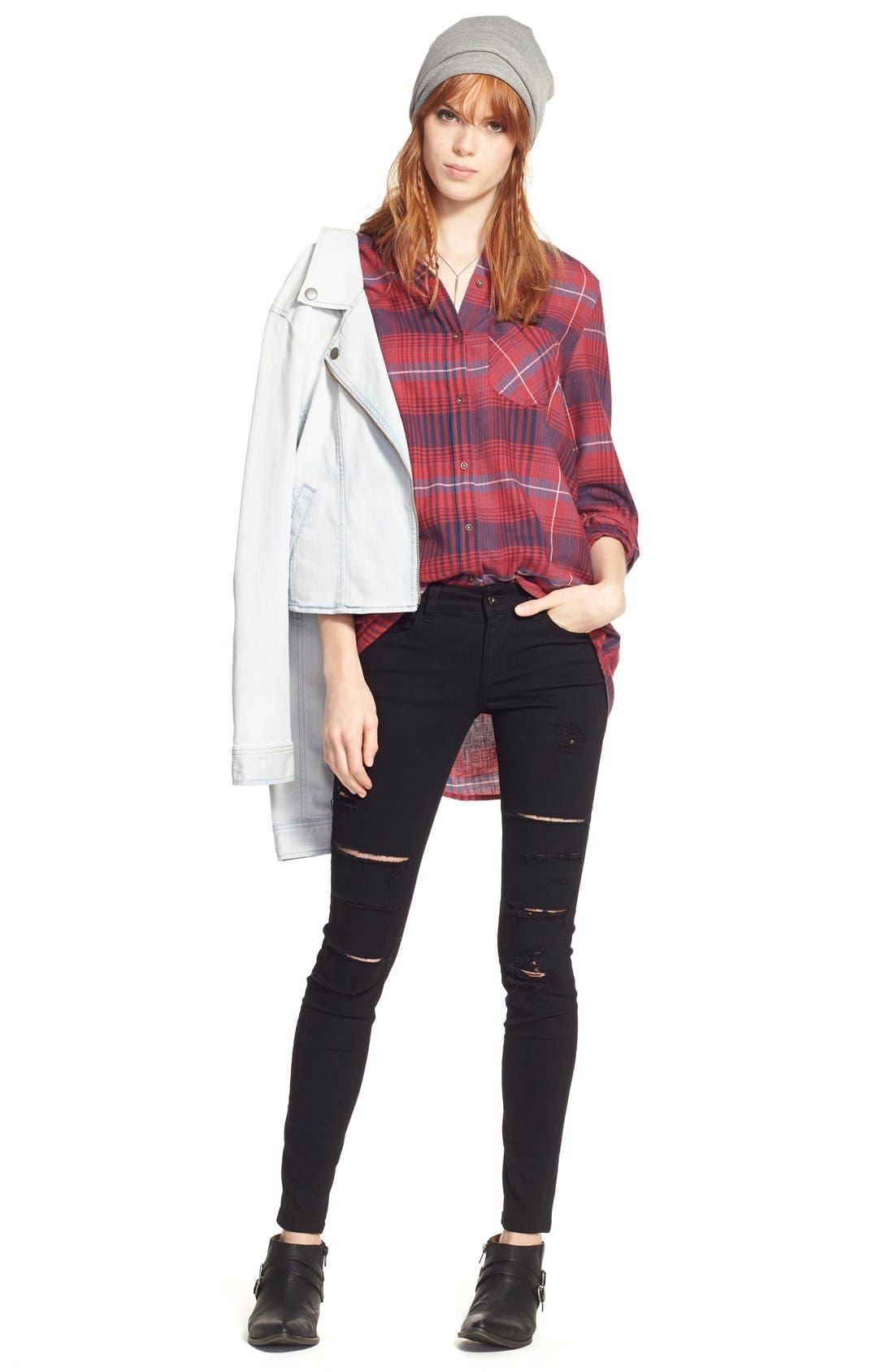 Alternate Image 2  - SP Black Destroyed Low Rise Skinny Jeans (Black) (Online Only)