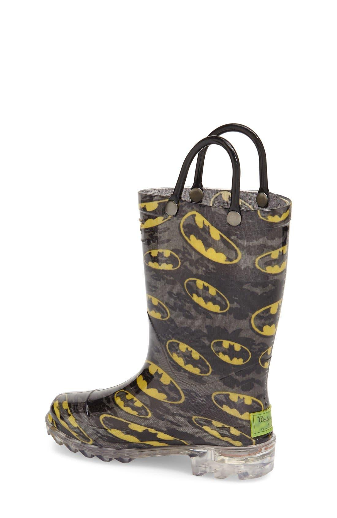 'Batman Signal' Light-Up Rain Boot,                             Alternate thumbnail 2, color,                             Black