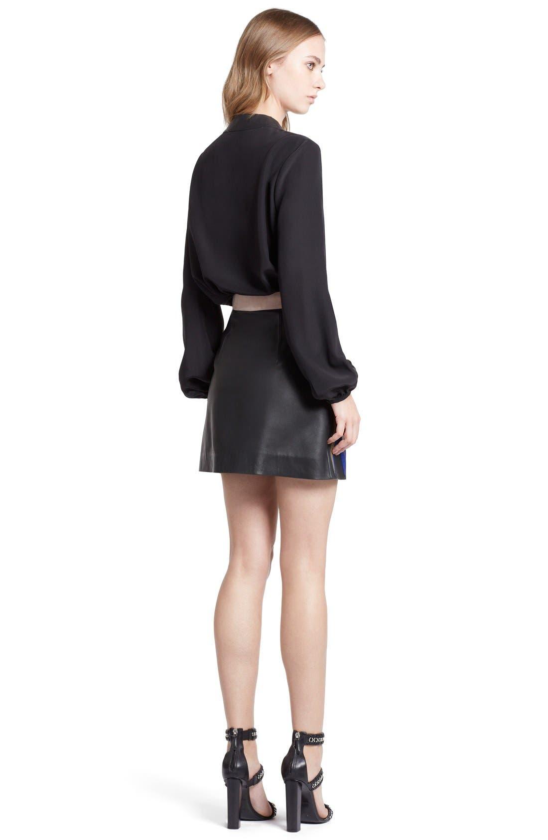 Alternate Image 2  - Emilio Pucci Leather Trim Lace-Up Neck Silk Shirt