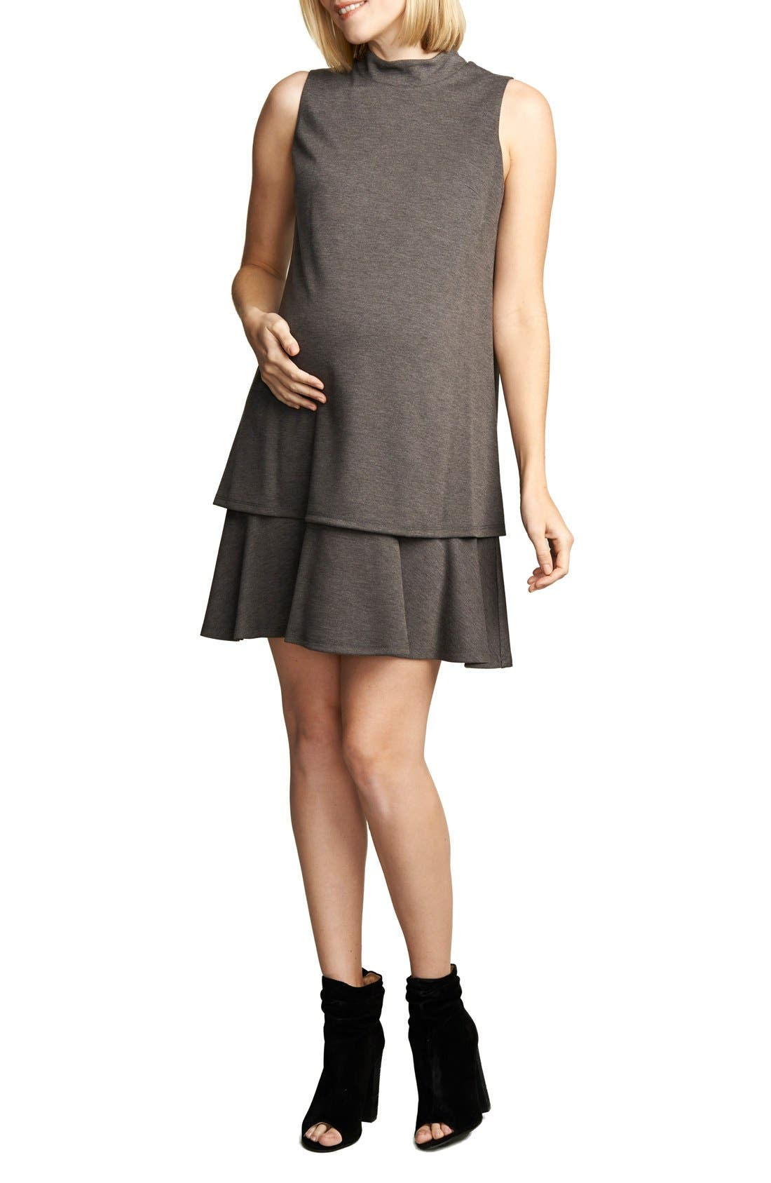 'Lucy' Maternity Dress,                         Main,                         color, Heather Charcoal