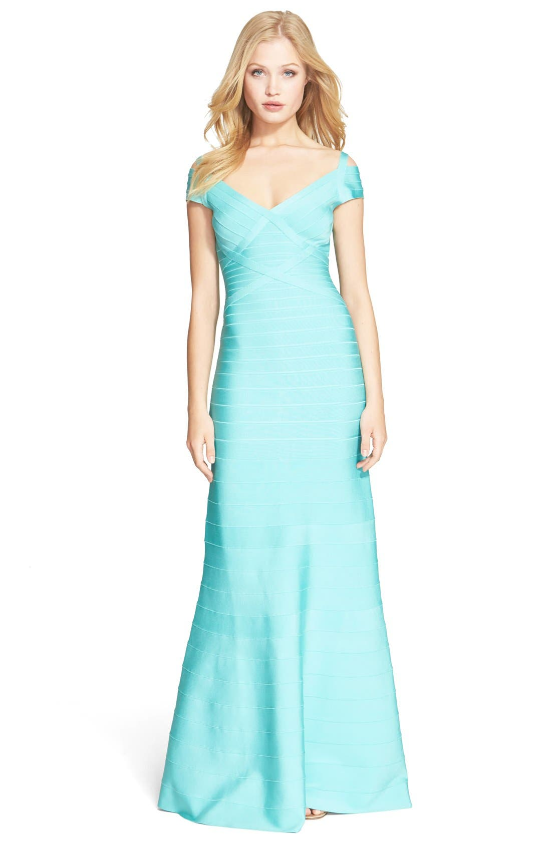 Cold Shoulder Flare Bandage Gown,                         Main,                         color, Seafoam