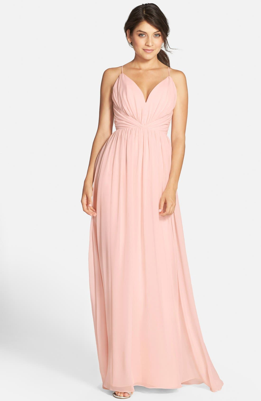 Alternate Image 1 Selected - Jim Hjelm Occasions Draped V-Neck Chiffon Gown