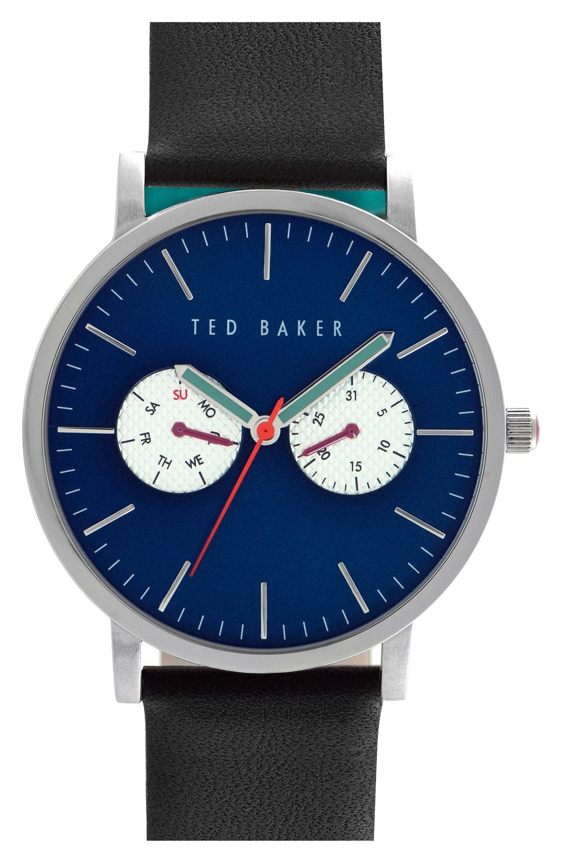 Leather Strap Watch, 40mm,                         Main,                         color, Black/ Blue