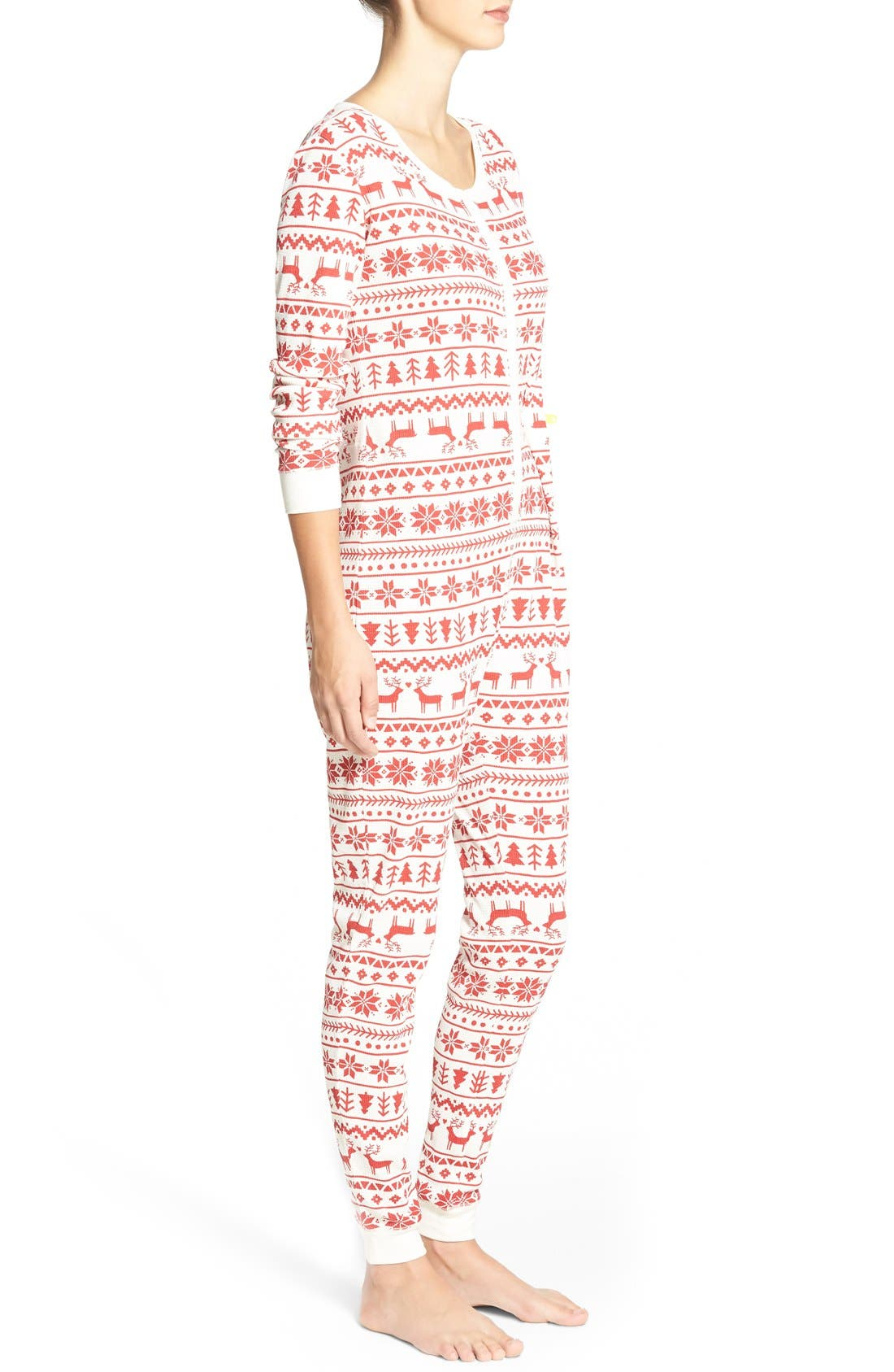 Holiday Thermal One-Piece Pajamas,                             Alternate thumbnail 3, color,                             Red Beauty Fairisle Sketch