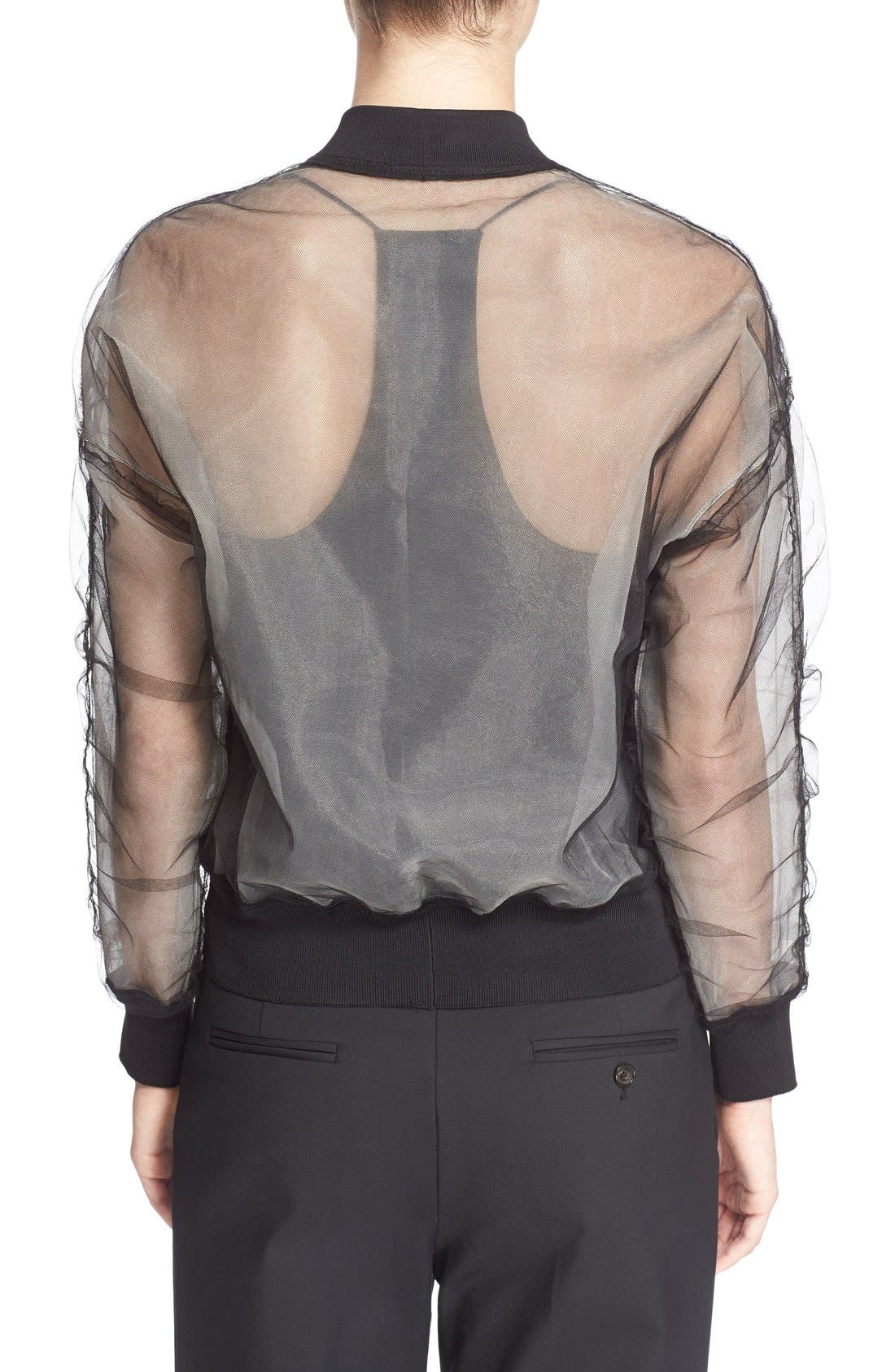 Alternate Image 2  - 3.1 Phillip Lim Gathered Sheer Chiffon Bomber Jacket