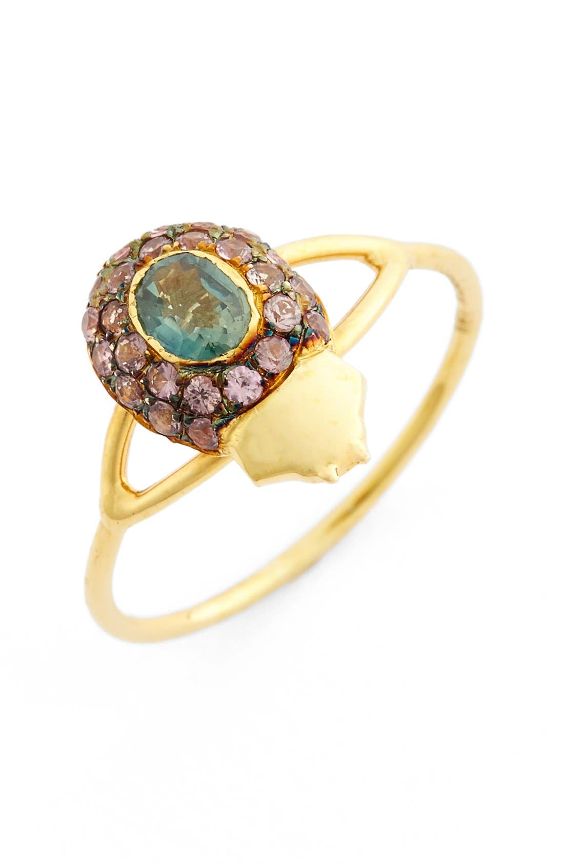 'Maat' Sapphire Ring,                             Main thumbnail 1, color,                             Yellow Gold/ Brown Sapphire