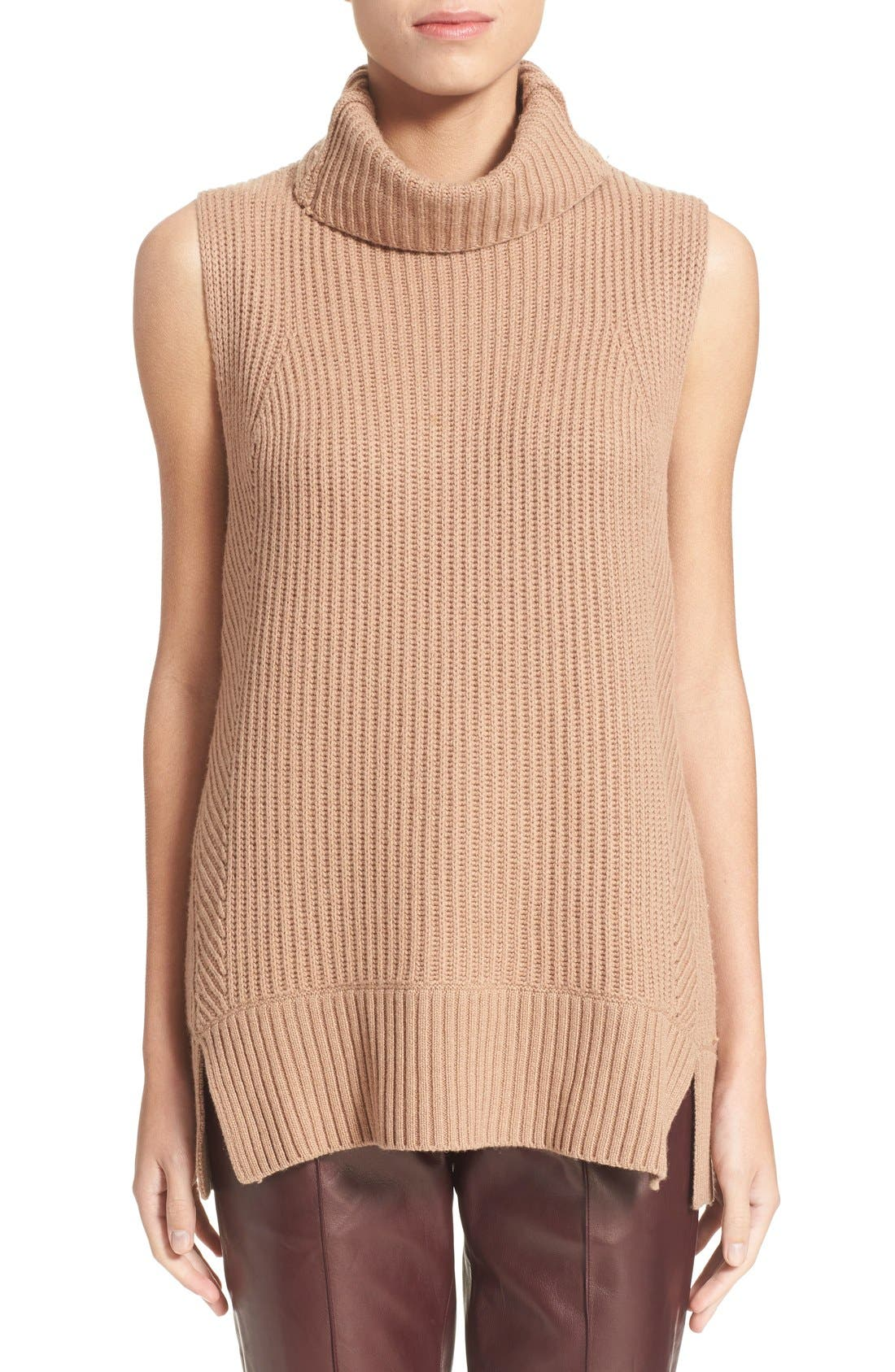 Sleeveless Ribbed Wool Turtleneck,                         Main,                         color, Almond
