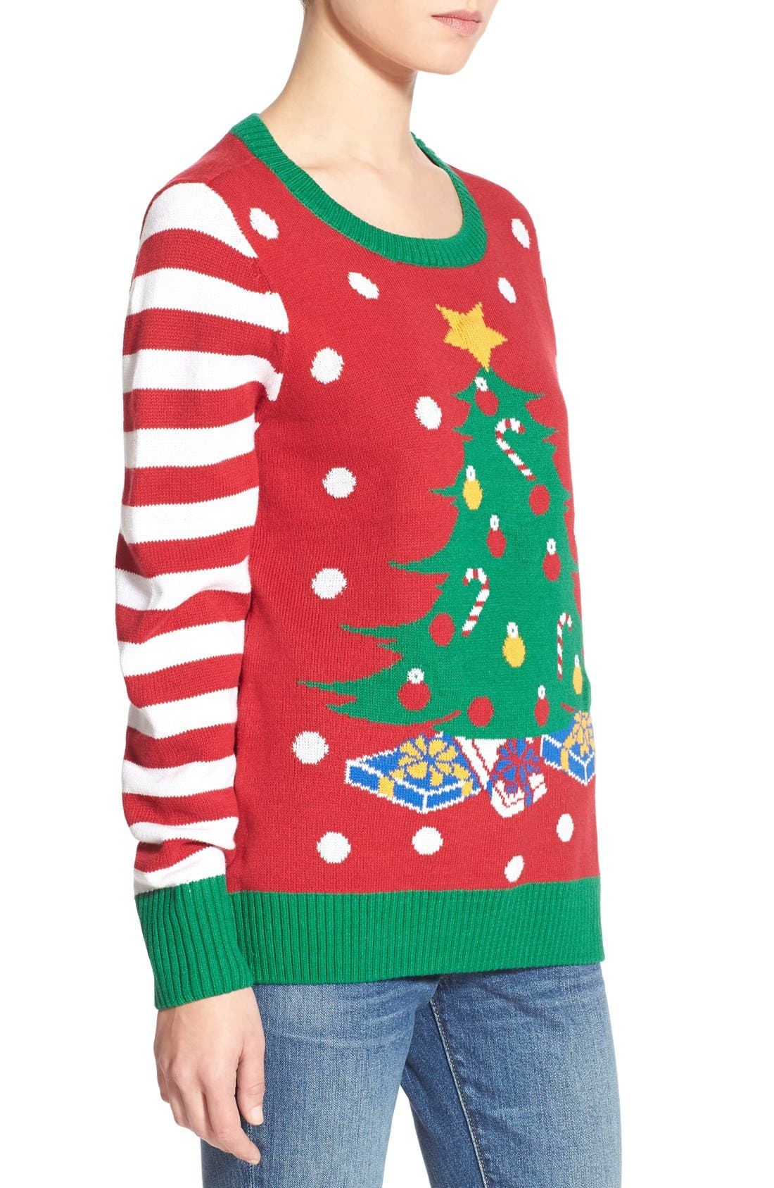 Alternate Image 3  - Ugly Christmas Sweater Light-Up Christmas Tree Sweater