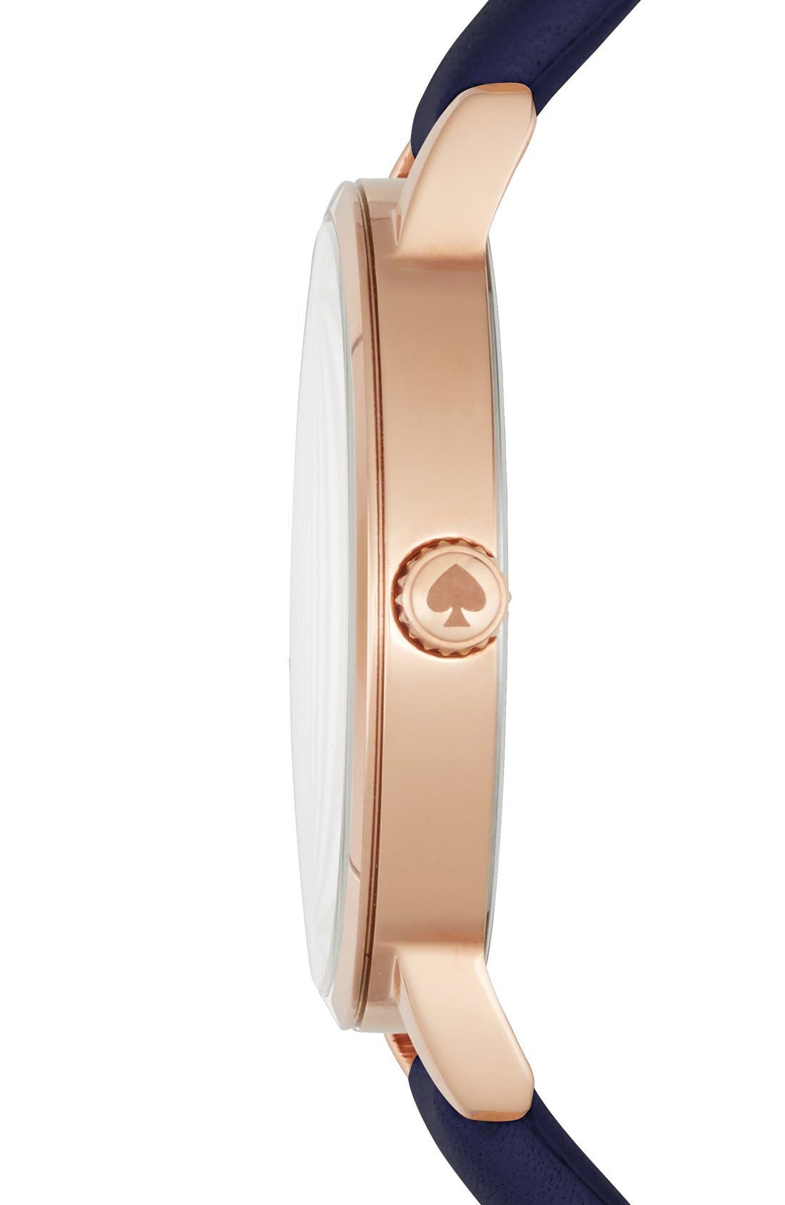Alternate Image 3  - kate spade new york 'metro' mother-of-pearl leather strap watch, 34mm