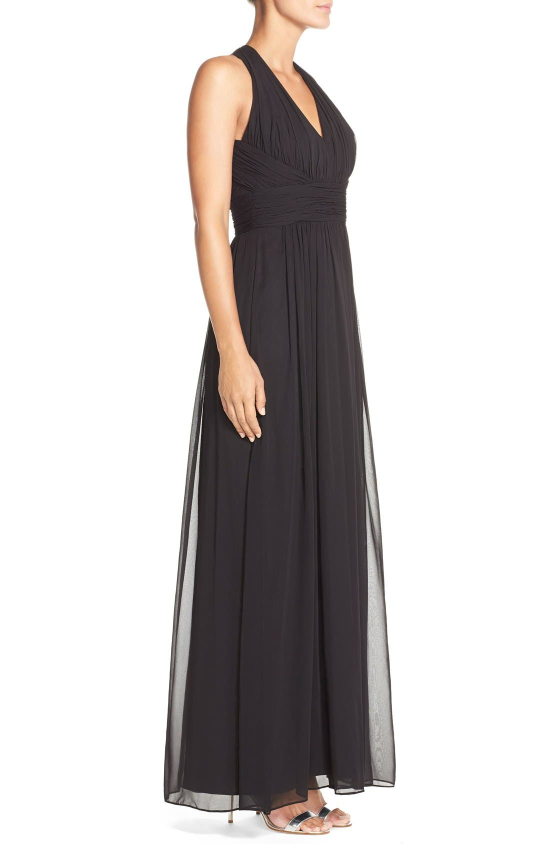 Dessy Collection Ruched Chiffon V-Neck Halter Gown,                             Alternate thumbnail 3, color,                             Black