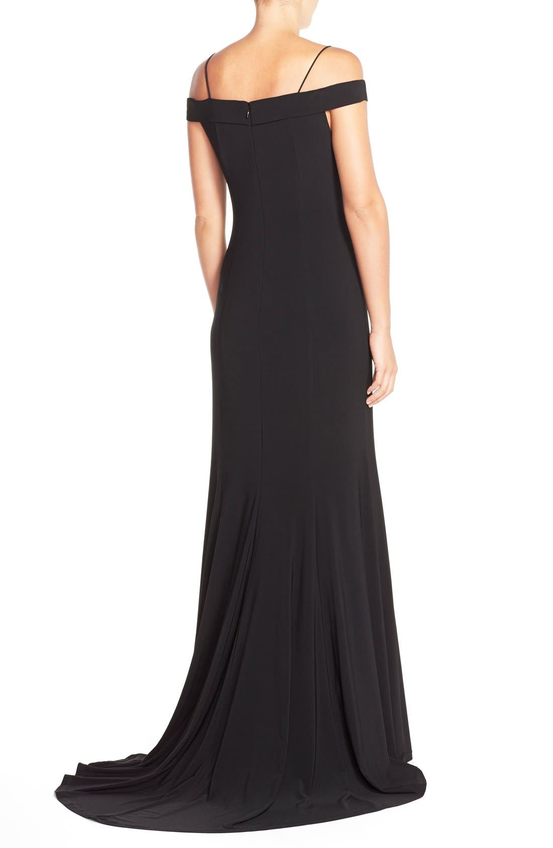 Alternate Image 2  - Adrianna PapellOff the Shoulder Jersey Mermaid Gown