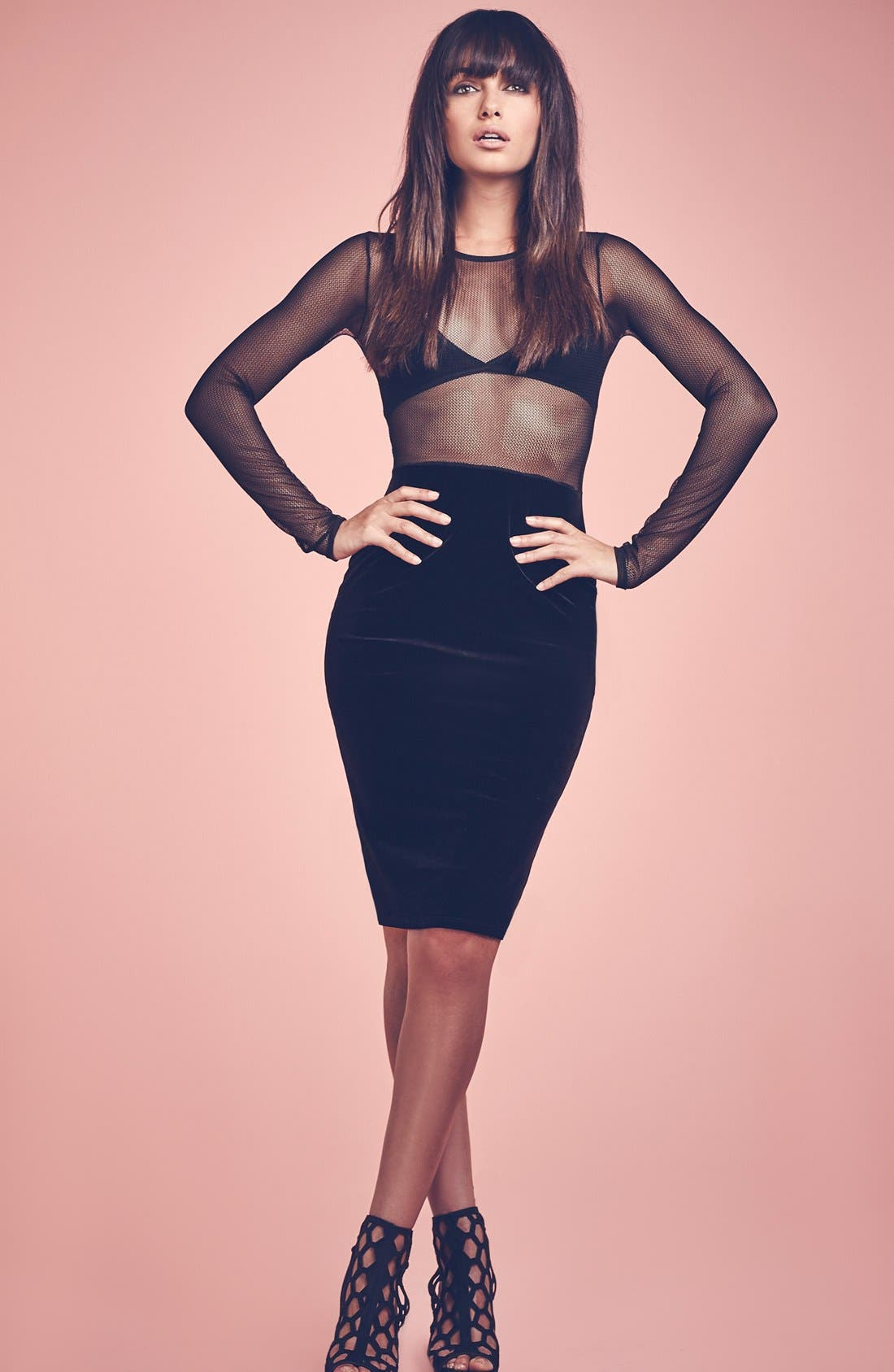 Alternate Image 6  - Missguided Mesh Top Body-Con Dress