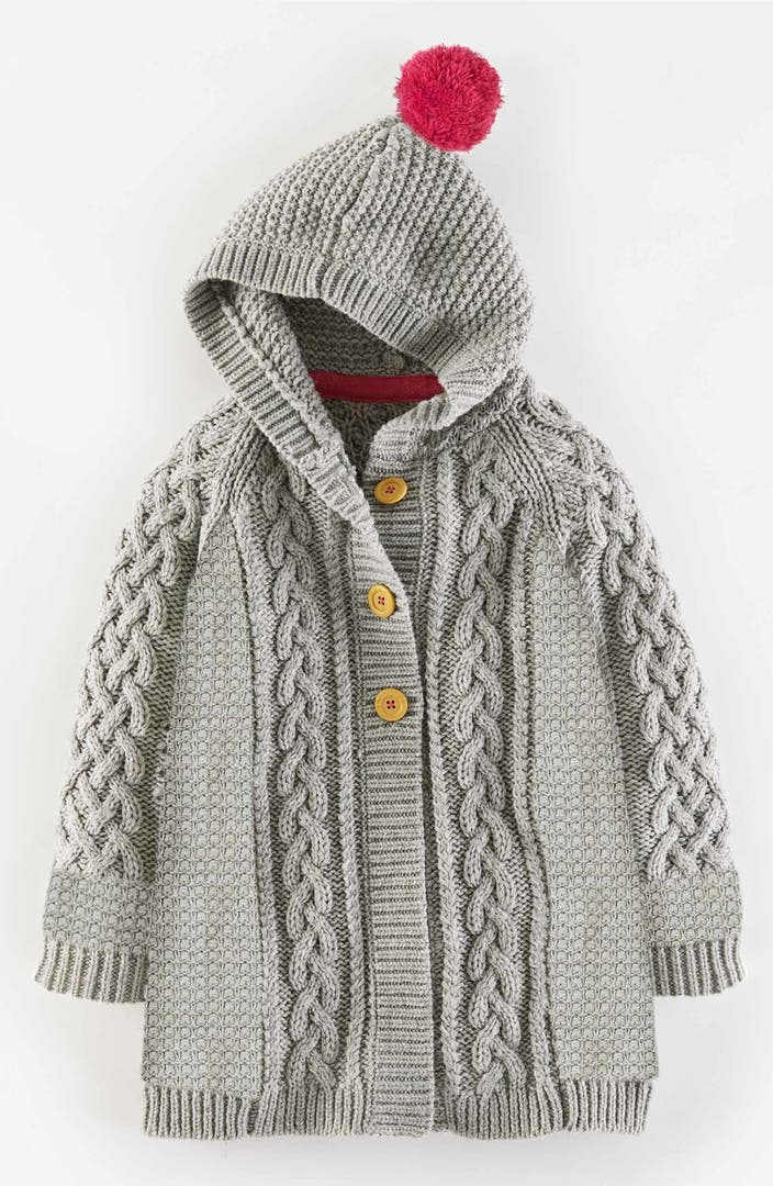 Mini Boden Long Hooded Cable Knit Cardigan Toddler Girls