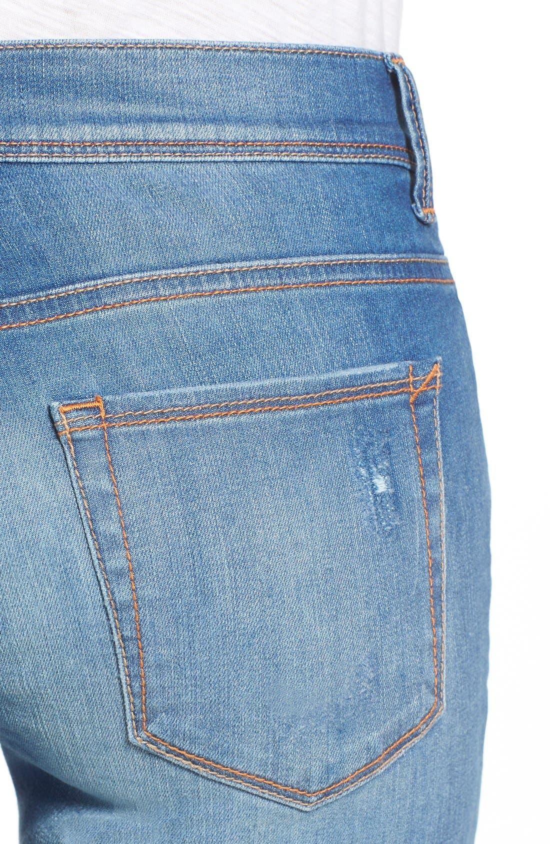 Alternate Image 4  - SP Black Rip & Repair Skinny Jeans (Light Wash)