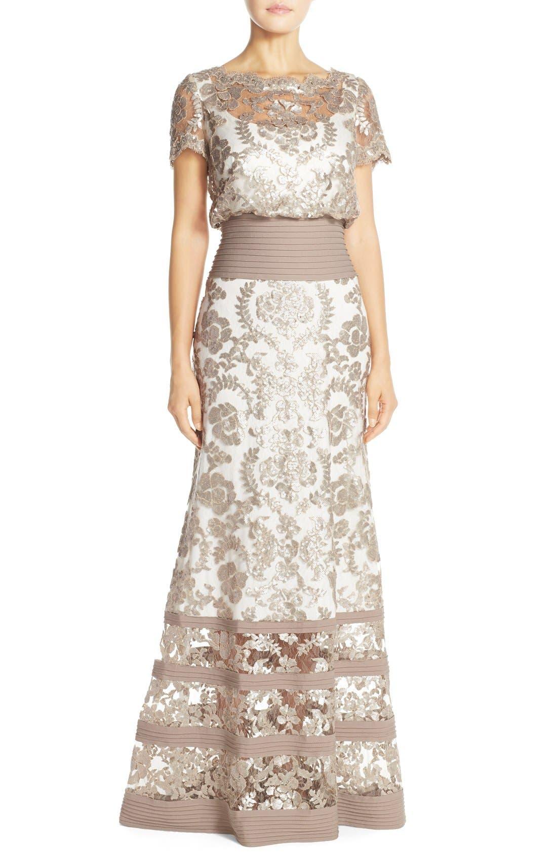 Sequin Lace Blouson Gown,                         Main,                         color, Sand/ Ivory