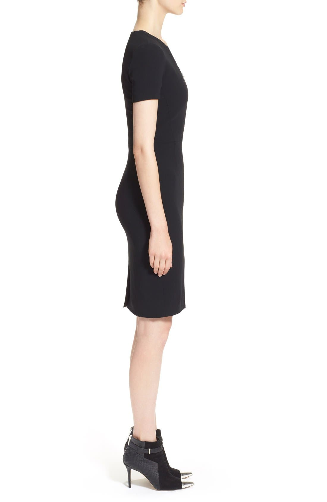 Alternate Image 4  - Prabal Gurung Zip Front Stretch Wool Sheath Dress