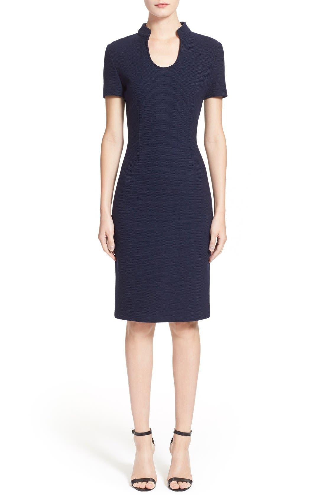Micro Bouclé Sheath Dress,                             Main thumbnail 1, color,                             Navy