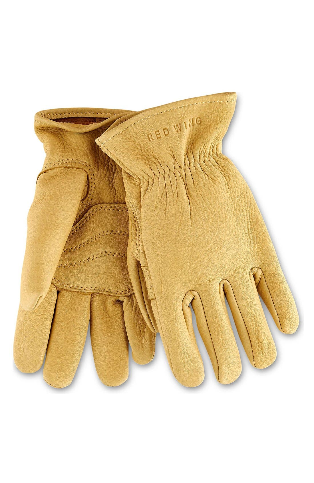 Buckskin Leather Gloves,                         Main,                         color, Yellow
