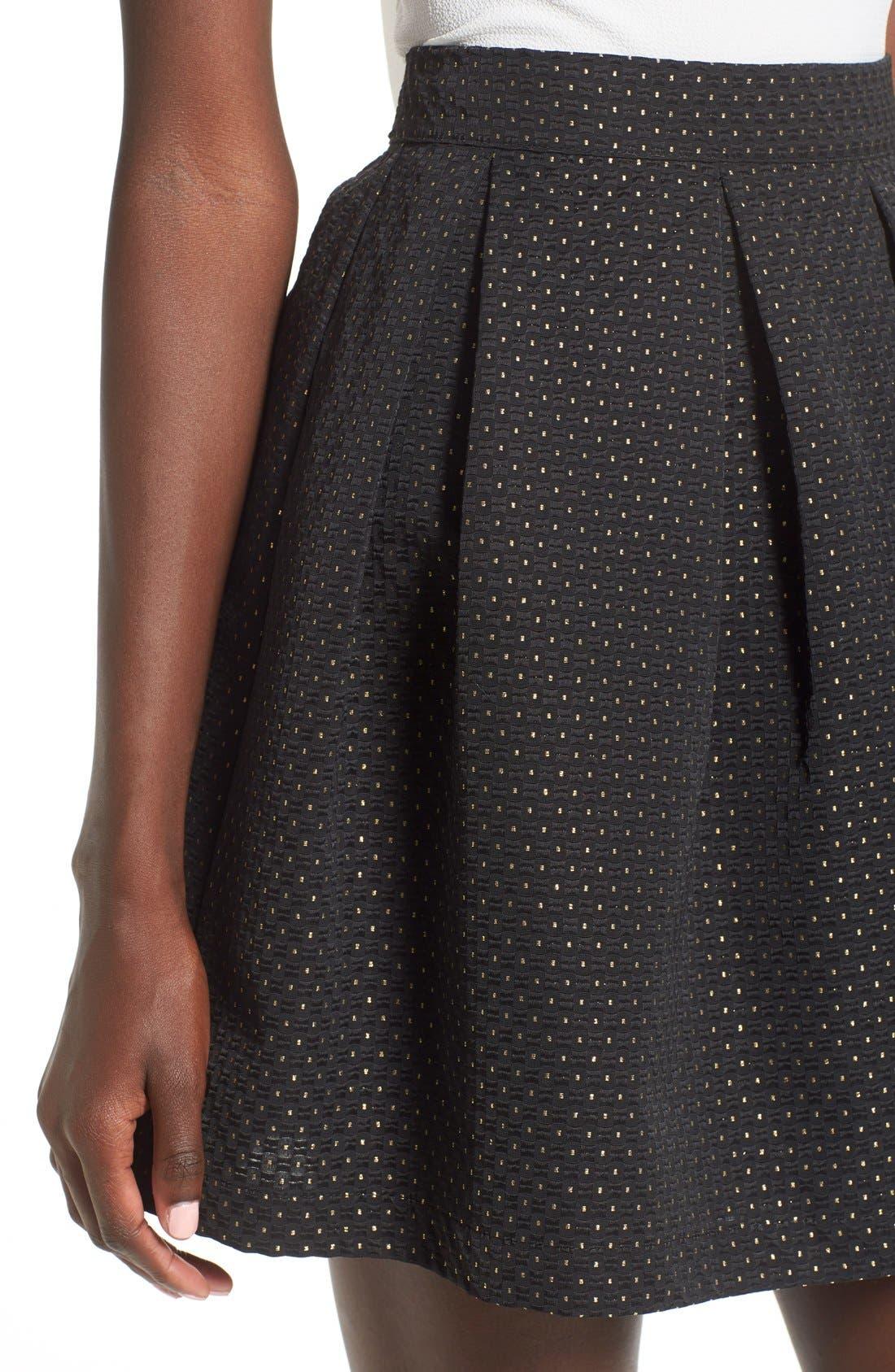 Alternate Image 4  - Soprano Metallic Dot Textured Skater Skirt