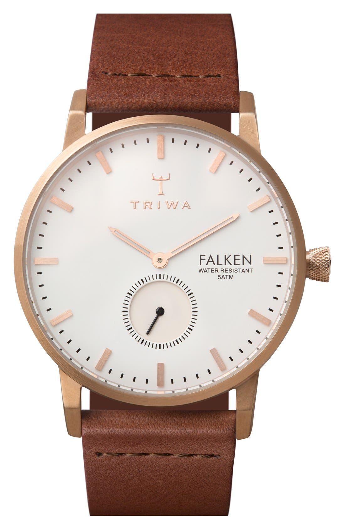 Rose Falken Organic Leather Strap Watch, 38mm,                             Main thumbnail 1, color,                             Cognac/ Rose Gold/ White