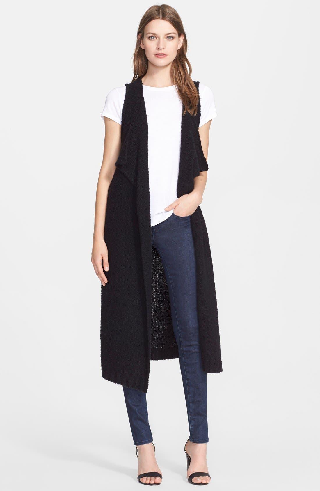 Bouclé Cashmere Open Front Vest,                         Main,                         color, Black