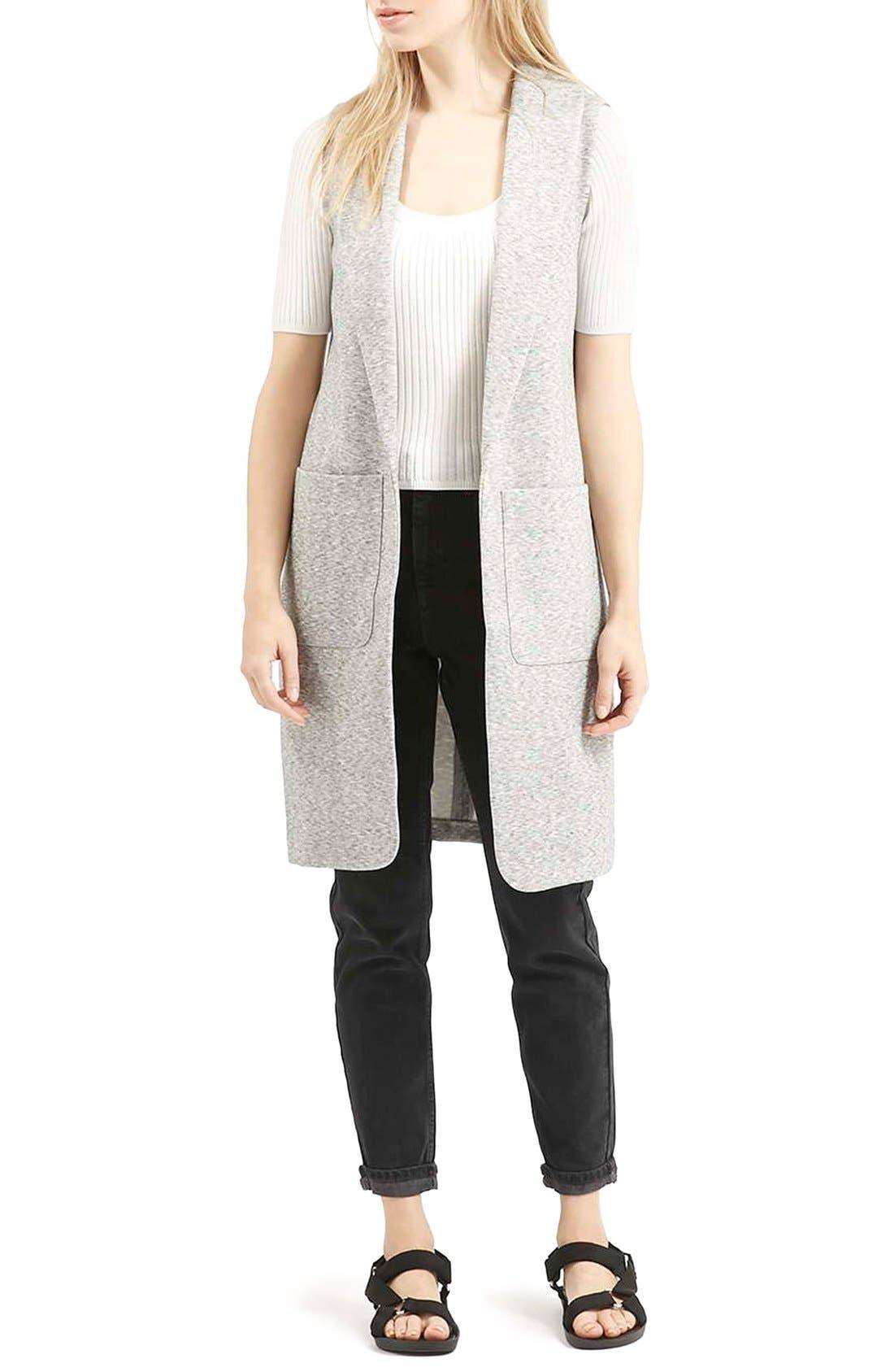 Marled Longline Vest,                             Alternate thumbnail 2, color,                             Light Grey
