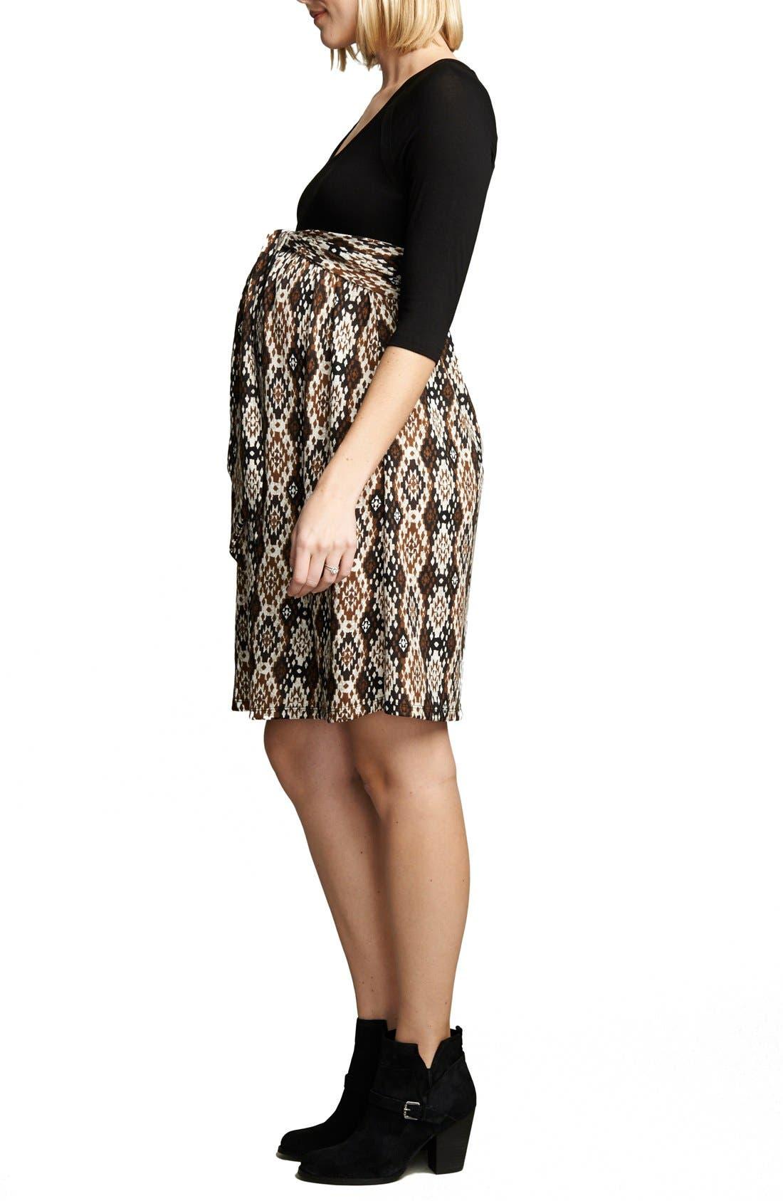 Ikat Print Tie Front Dress,                             Alternate thumbnail 3, color,                             Black/Ikat Print