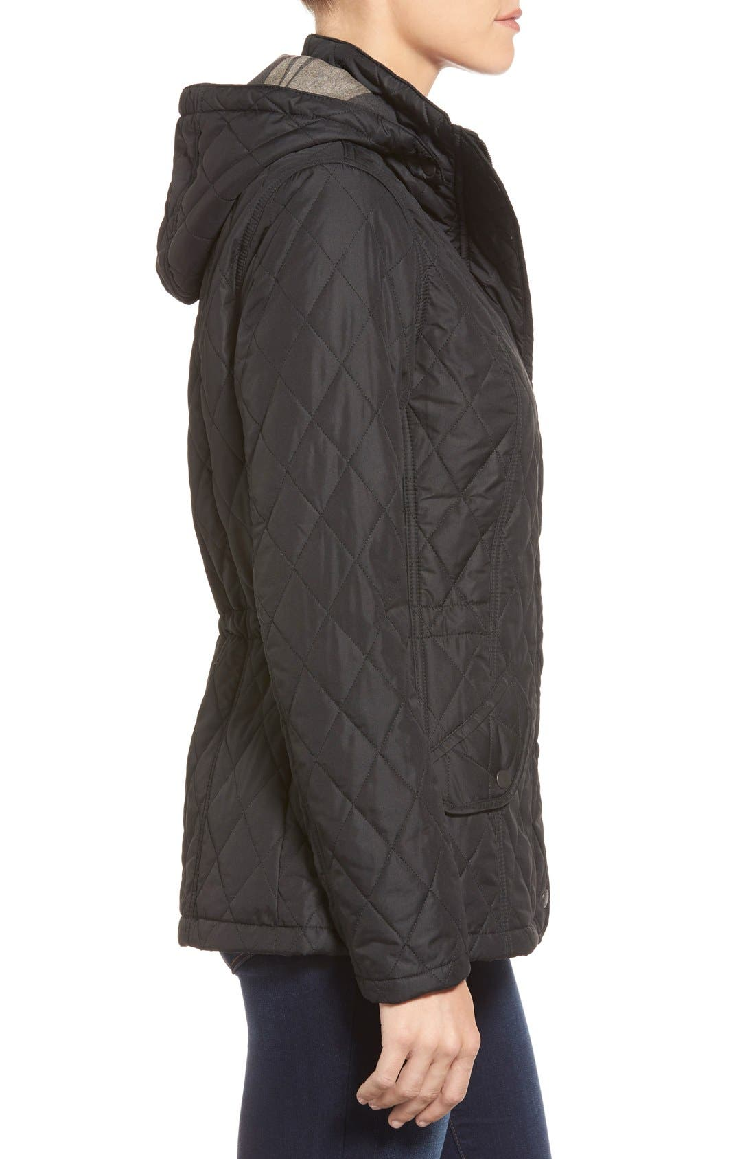 'Millfire' Hooded Quilted Jacket,                             Alternate thumbnail 3, color,                             Black