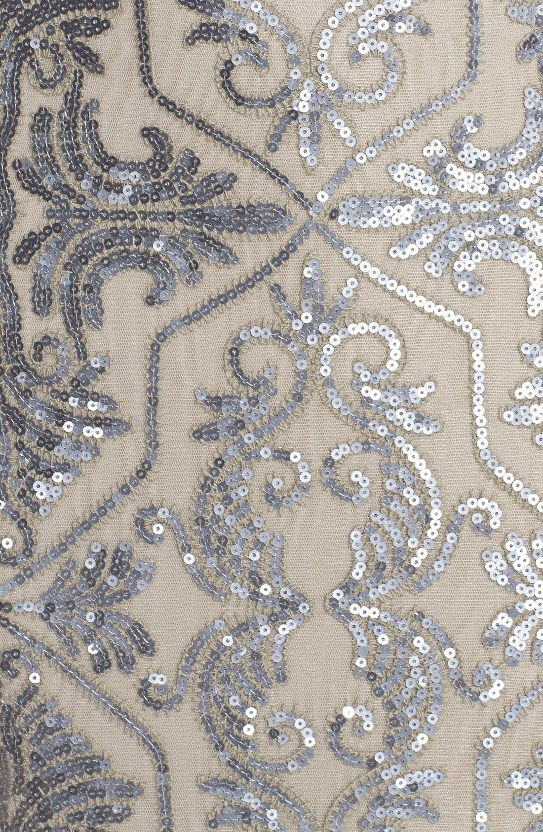 Sequin Tulle Mermaid Gown,                             Alternate thumbnail 5, color,                             Duchess Grey