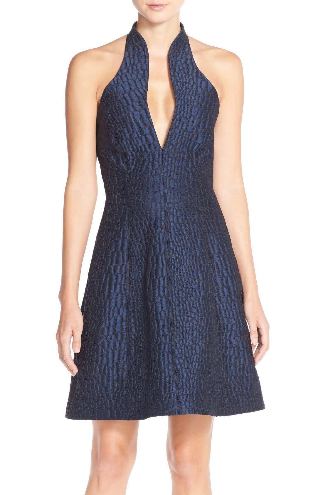Main Image - Halston Heritage Halter Jacquard Fit & Flare Dress