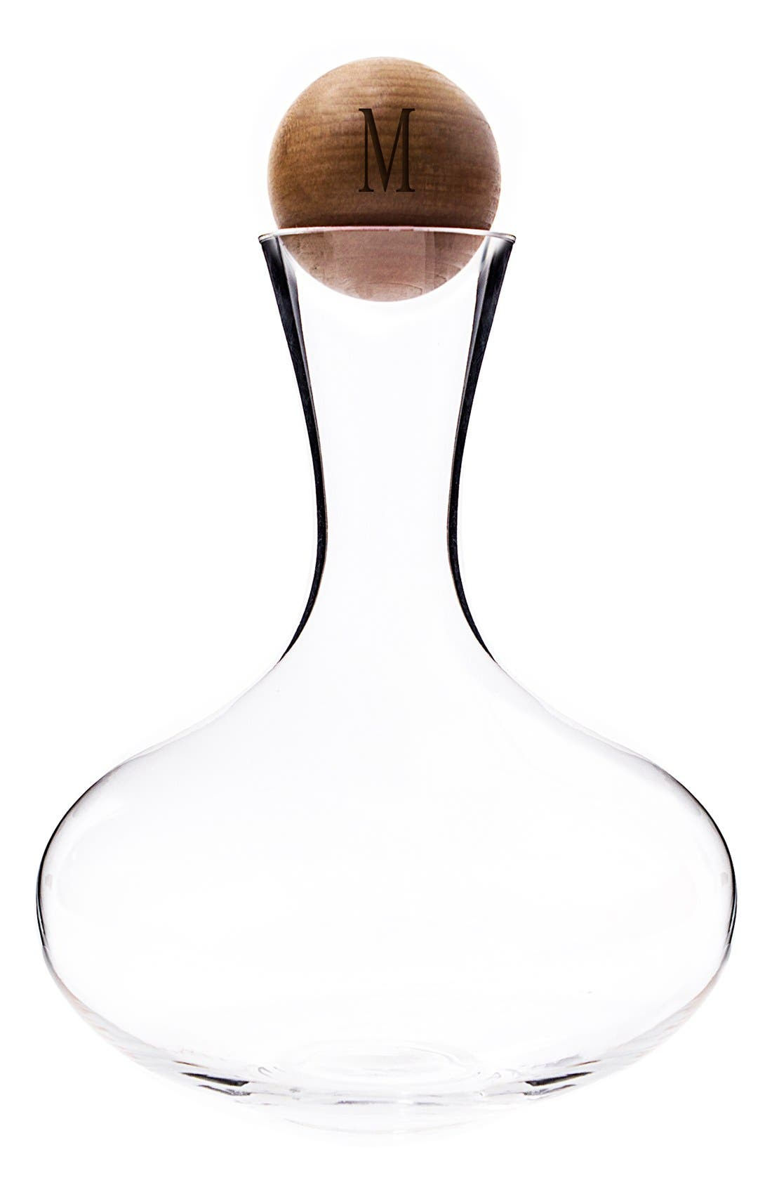 Alternate Image 1 Selected - Cathy's Concepts Monogram Glass Wine Decanter & Wood Stopper