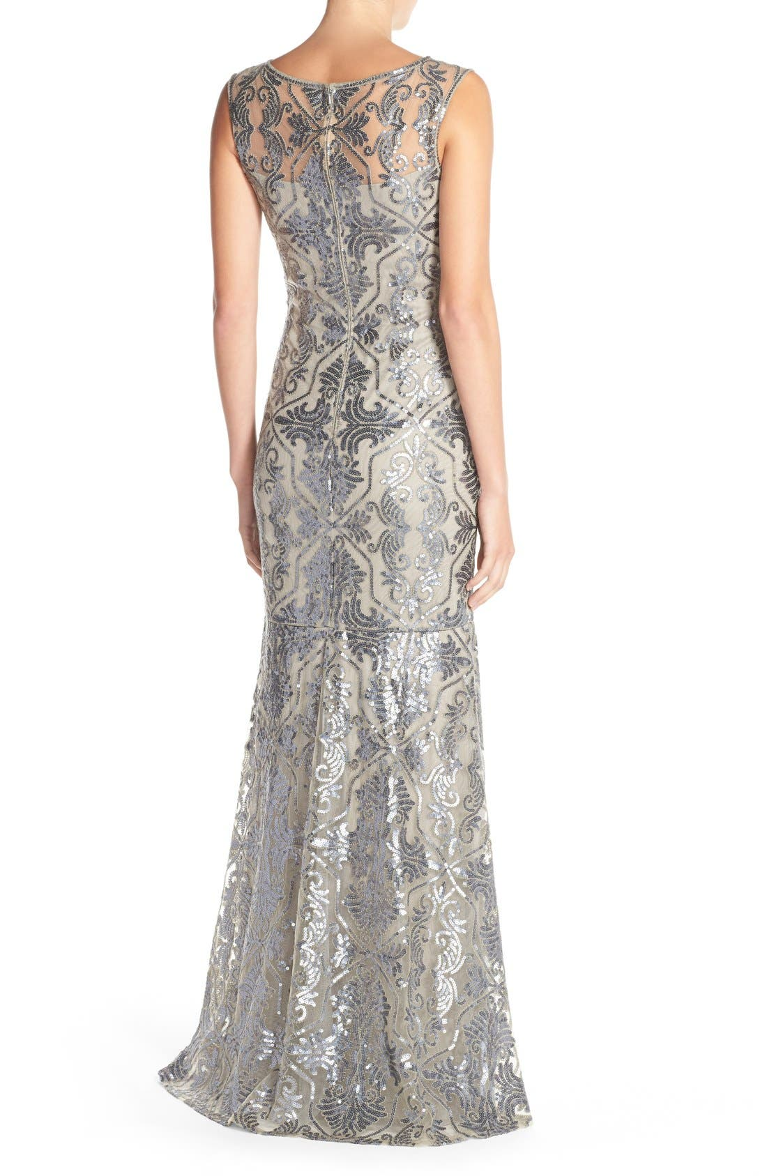 Sequin Tulle Mermaid Gown,                             Alternate thumbnail 2, color,                             Duchess Grey