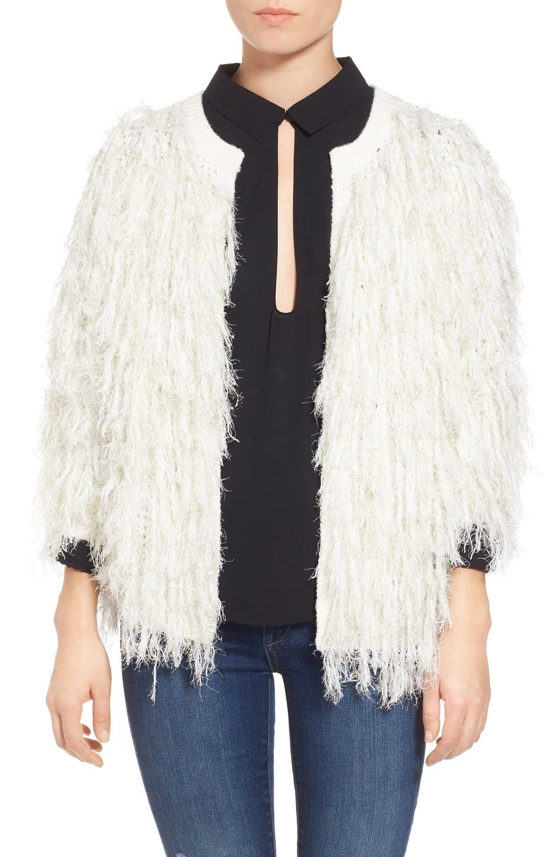 Shaggy Open Front Cardigan,                         Main,                         color, Ivory Egret Rose Gold