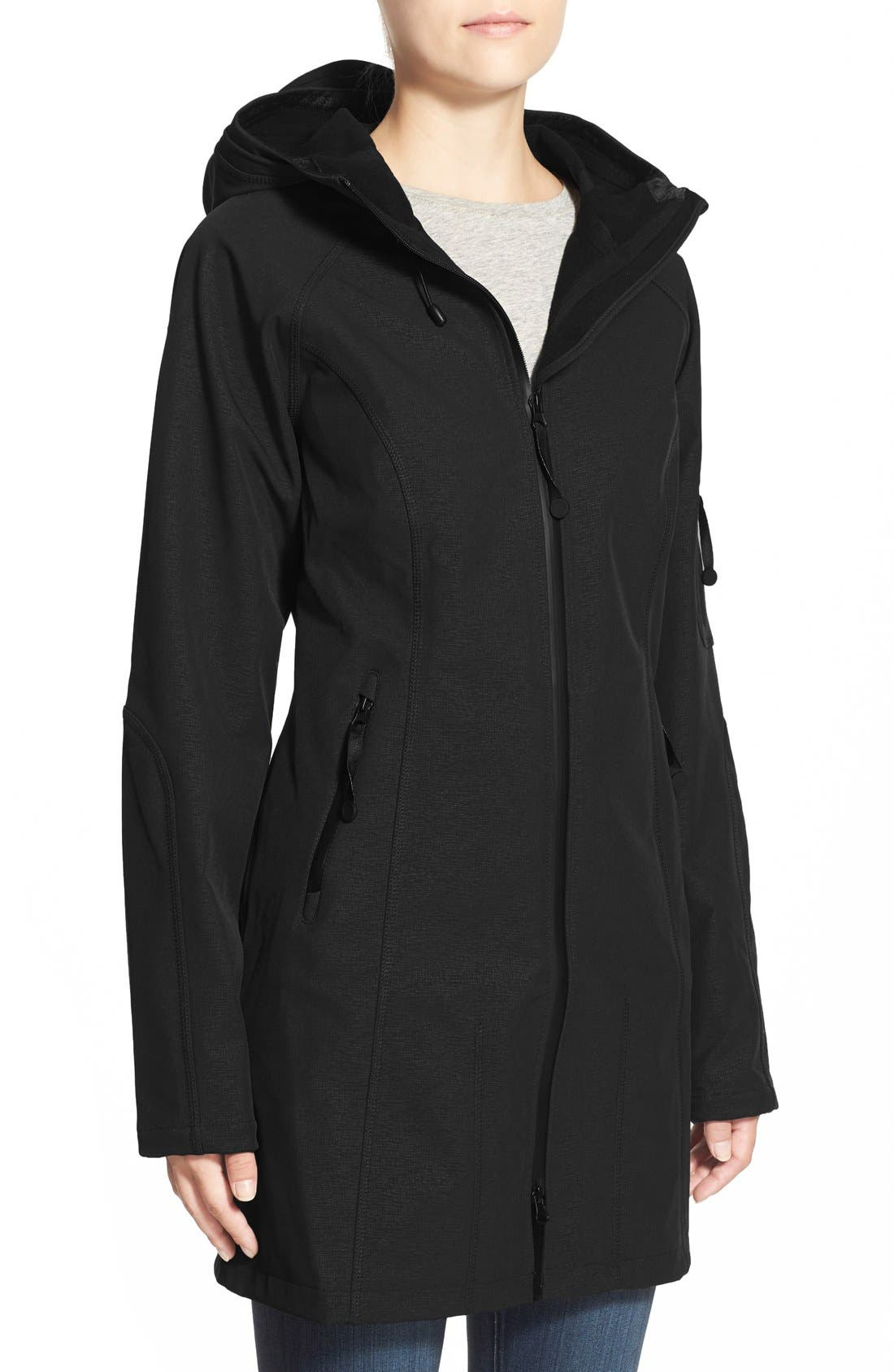 Regular Fit Hooded Raincoat,                             Main thumbnail 1, color,                             Black