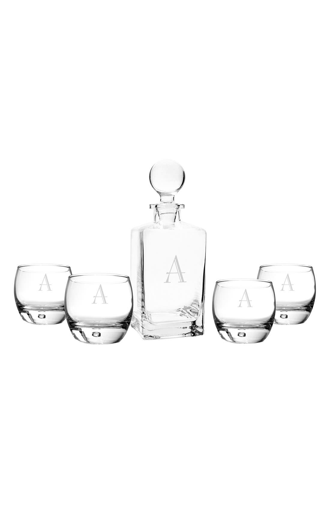 Cathy's Concepts Monogram Whiskey Decanter & Glasses (Set of 5)