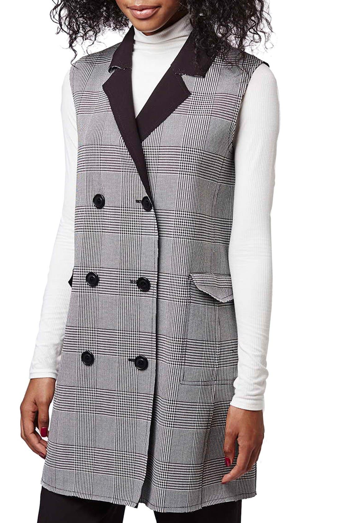 Main Image - Topshop Prince of Wales Double Breasted Vest