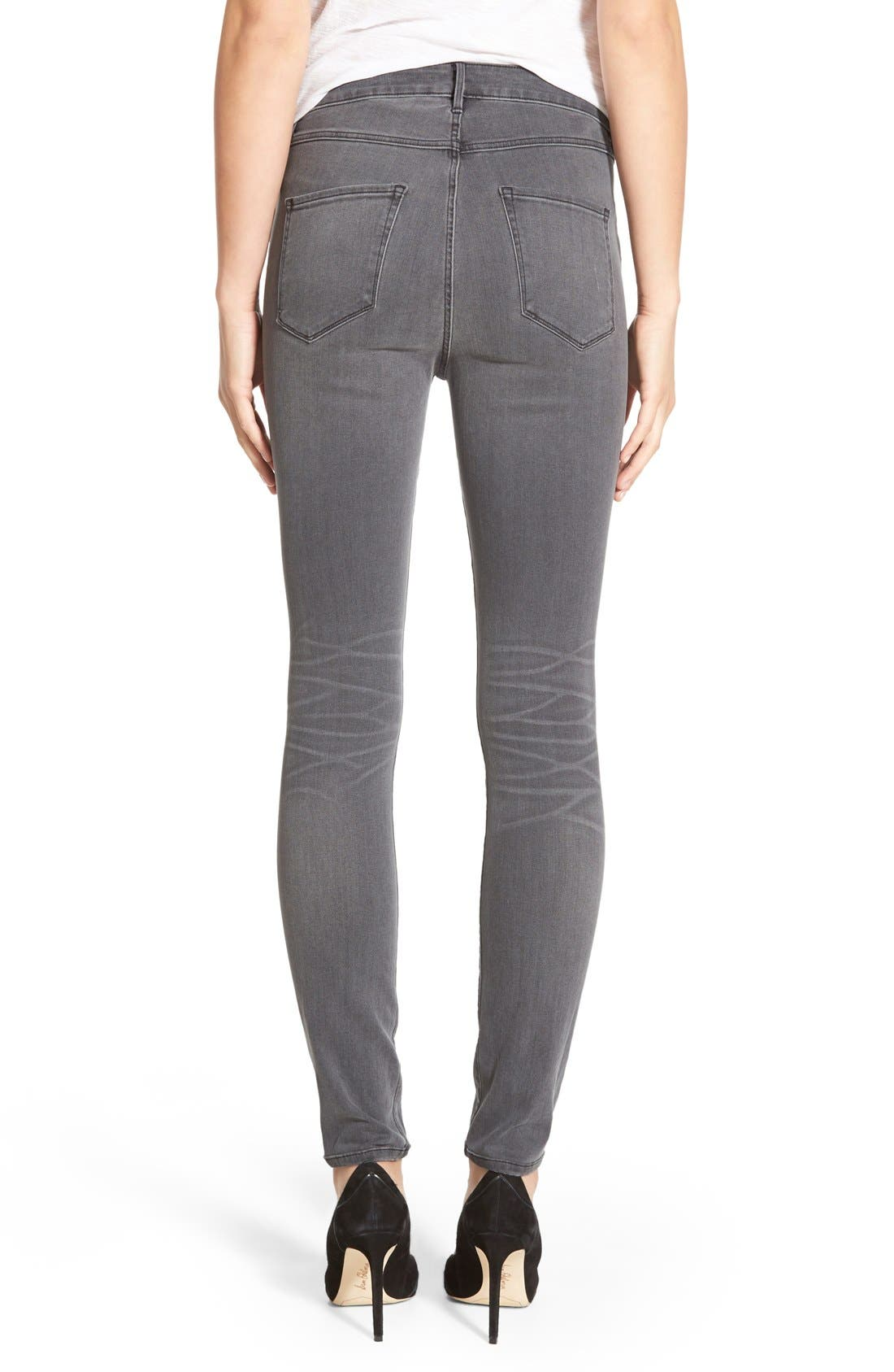 Alternate Image 2  - 3x1 NYCHigh Rise Destroyed Skinny Jeans (Golf Grey Decon)