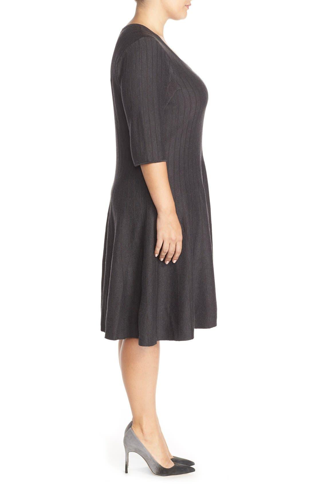 'Twirl' Elbow Sleeve Knit Fit & Flare Dress,                             Alternate thumbnail 2, color,                             Phantom Heather