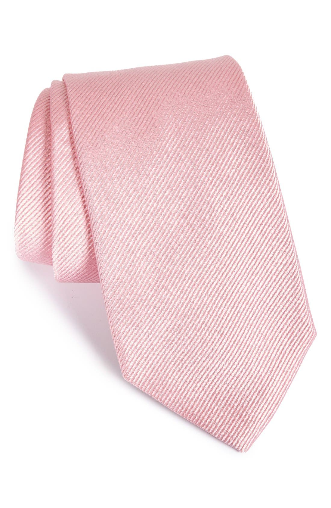 Solid Silk Tie,                         Main,                         color, Pink