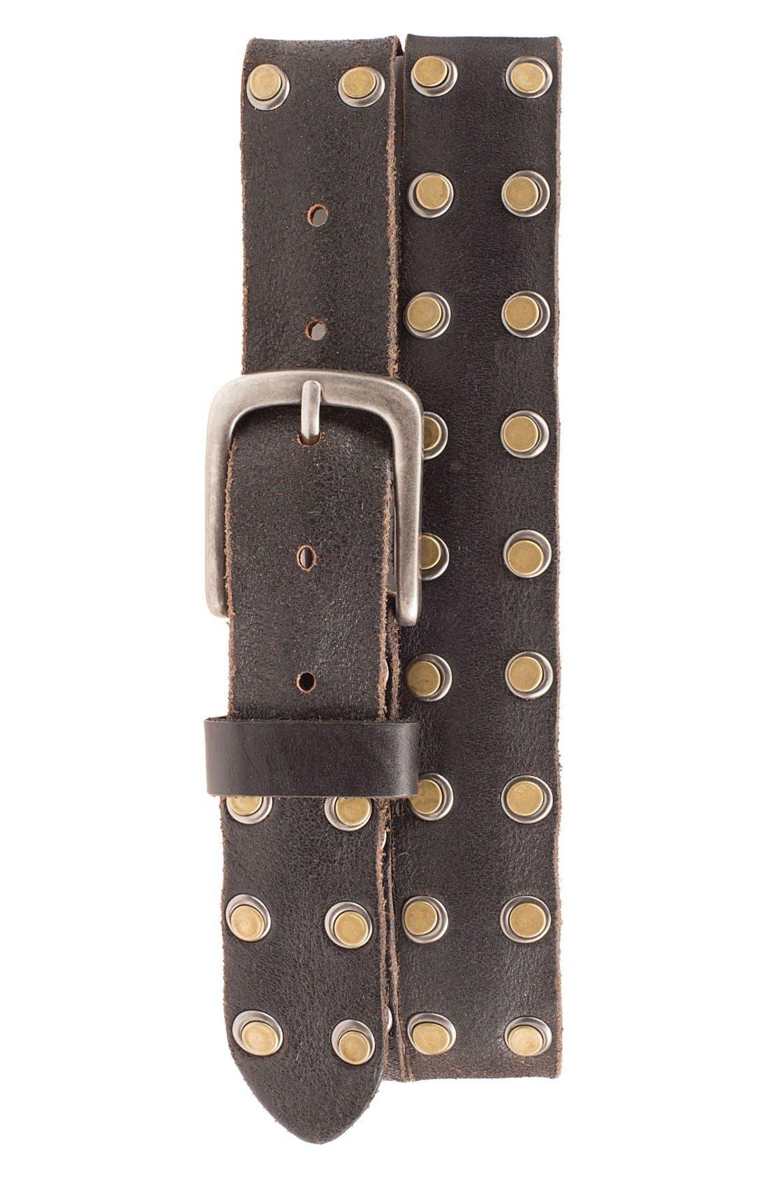 'Outlaw' Leather Belt,                         Main,                         color, Black