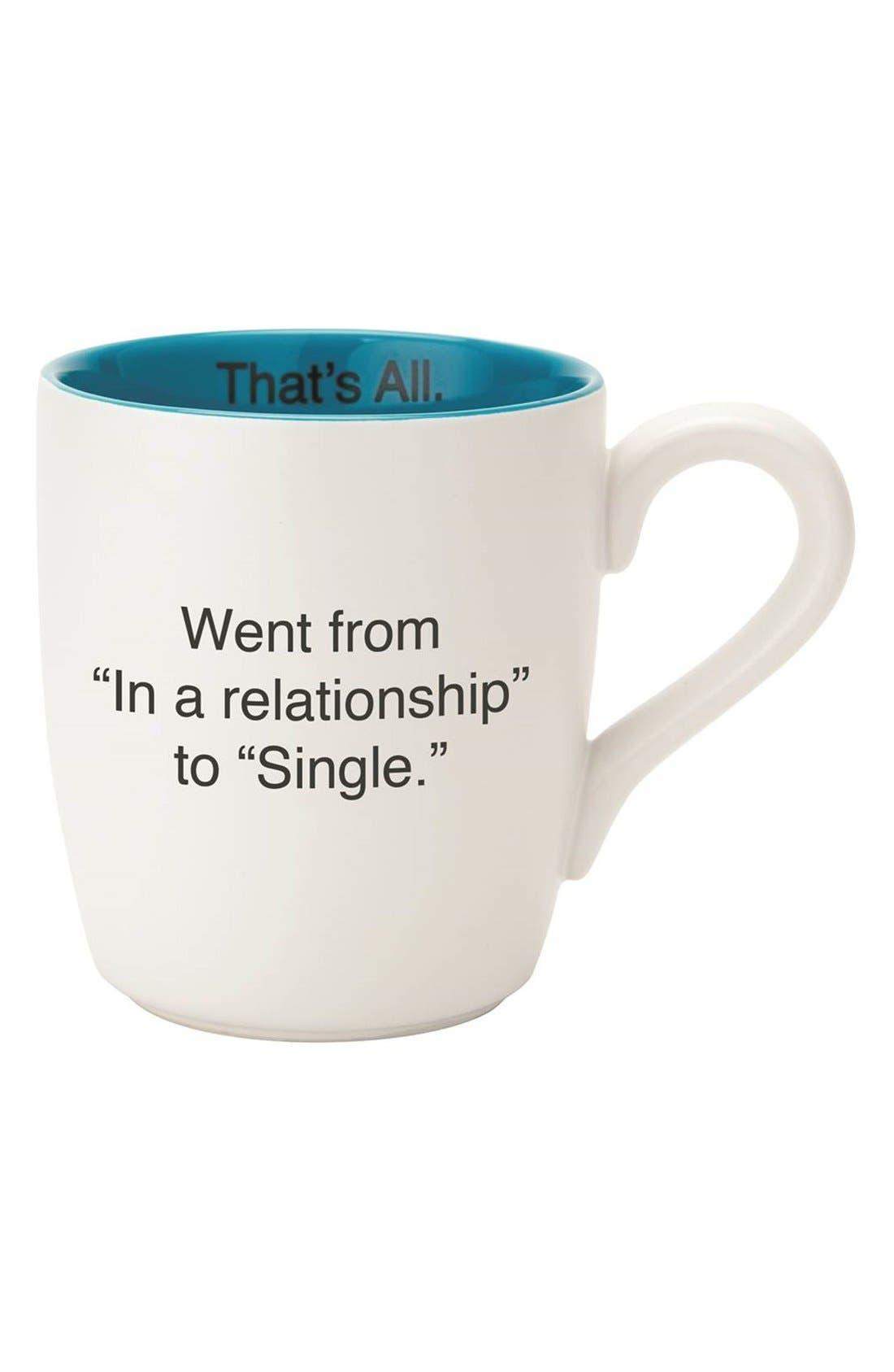 'Single - That's All' Coffee Mug,                         Main,                         color, White