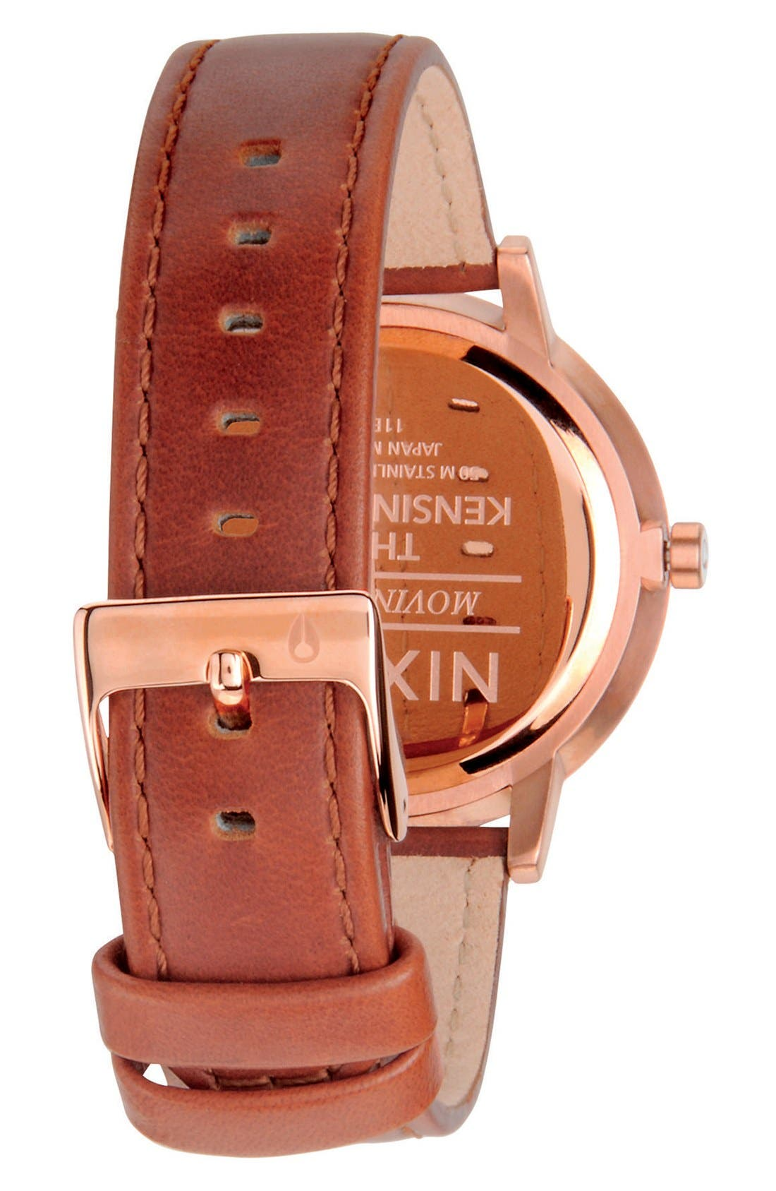 'The Kensington' Leather Strap Watch, 37mm,                             Alternate thumbnail 2, color,                             Brown/ Rose Gold/ White