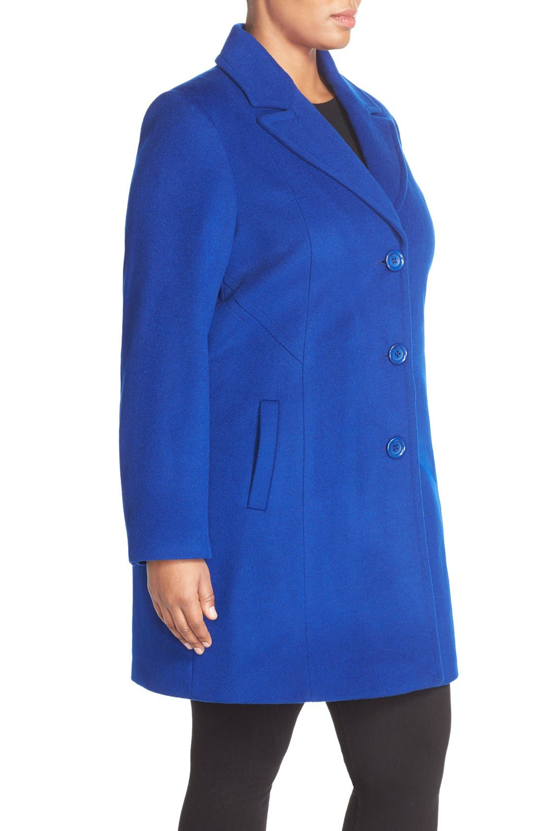 Notch Collar Wool Blend Coat,                             Alternate thumbnail 3, color,                             Cobalt
